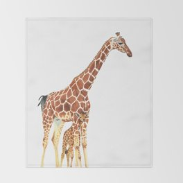 Giraffe Art - A Mother's Love - By Sharon Cummings Throw Blanket