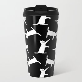 Cats-White on Black Metal Travel Mug