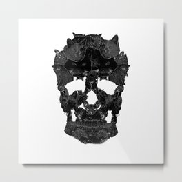 Sketchy Cat skull Metal Print