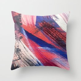 Los Angeles: A vibrant, abstract piece in reds and blues by Alyssa Hamilton Art Throw Pillow