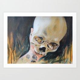 me holding my skull Art Print