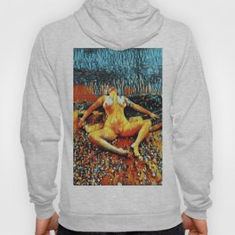 5198s-CH Abstract Nude Woman on Lake Superior Shore Rendered as Colorful Art by Chris Maher Hoody
