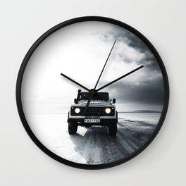 landrover defender in iceland Wall Clock