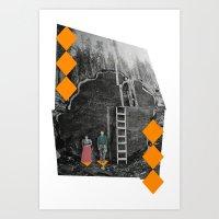 North American Woods Digital Collage Diamont Lamberjack  Art Print