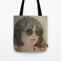 allyson johnson Tote Bags featuring DAKOTA JOHNSON by Virginieferreux
