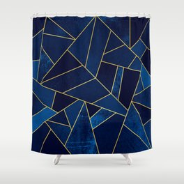 Blue stone with yellow lines Shower Curtain