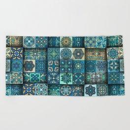 Vintage patchwork with floral mandala elements Beach Towel