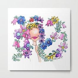 Flowers in Her Hair Metal Print