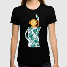Dinnerware sets - Monkey in a jug Womens Fitted Tee Black LARGE