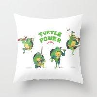 ninja turtle Throw Pillows featuring Ninja Turtles Turtle Power by MrMaars