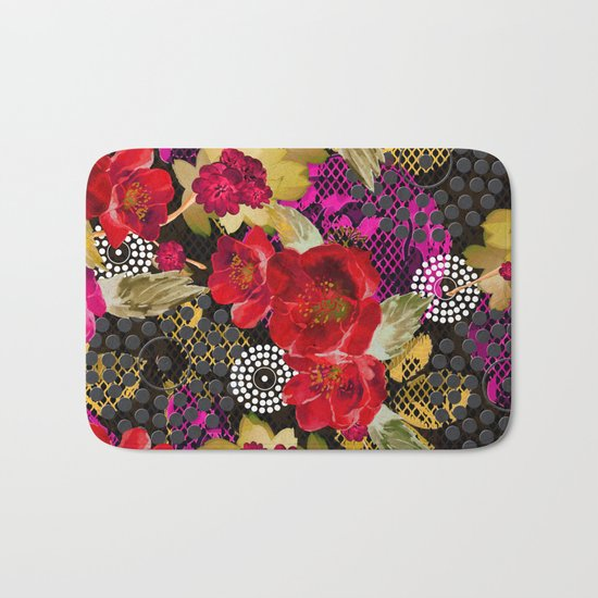 Flowers with Lace and Dots 2 Bath Mat