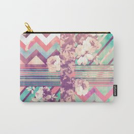 Retro Pink Turquoise Floral Stripe Chevron Pattern Carry-All Pouch