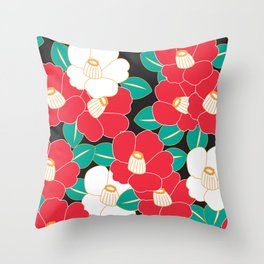 Shades of Tsubaki - Red & Black Throw Pillow