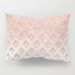Faux rose gold glitter ombre rose gold foil triangles chevron geometric on white marble Pillow Sham