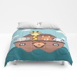 Kawaii Cute Zoo Animals On A Boat Comforters