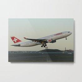 Swiss A330 departing Boston Metal Print