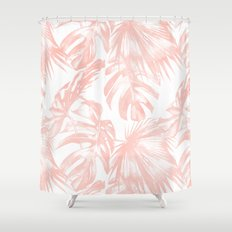 Pink Tropical Palm Leaves Shower Curtain