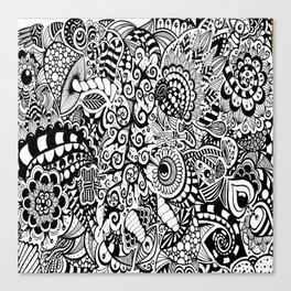 Mushroom madness black and white Canvas Print