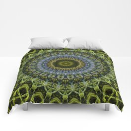Olive and blue tones mandala Comforters