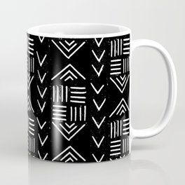 mudcloth 6 minimal textured black and white pattern home decor minimalist Coffee Mug