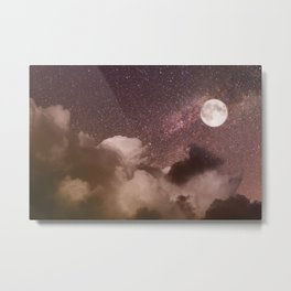 Celestial Night Sky and Full Moon Metal Print