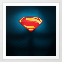 man of steel Art Prints featuring Man of Steel Suit by Roboz