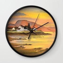 Sunset At Plockton Village Scotland Wall Clock