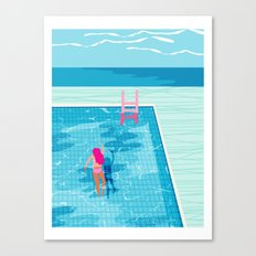 In Deep - memphis throwback swimming athlete palm springs resort vacation country club infinity pool Canvas Print