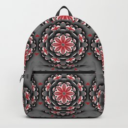 Floral pattern mandala in red, black and grey tones Backpack