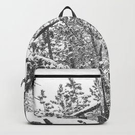 Forest Snowfall // Winter Tree Black and White Landscape Photography Backwoods Woodlands Woods Backpack