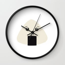 kawaii onigiri rice face Wall Clock