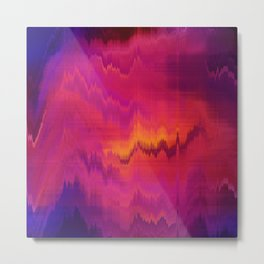 Pink Glitch abstract Metal Print