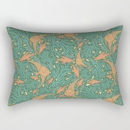 Green coral with orange fish on green background Rectangular Pillow