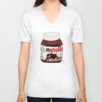 nutella V-neck T-shirts featuring Nutella by Angela Dalinger