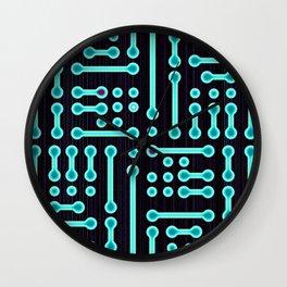 Geometric Cyan Circuit Wall Clock