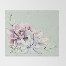 Beautiful Mint Succulents Throw Blanket