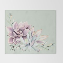 Beautiful Mint Succulents Throw Blanket