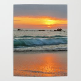 Golden sunset with turquoise waters Poster