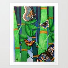 Bamboo & Butterflies Art Print