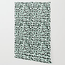 Spotted series abstract dashes mint black and white raw paint spots Wallpaper