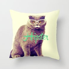 Turquoise Funny Cat Cute Hipster Glasses Mustache Throw Pillow