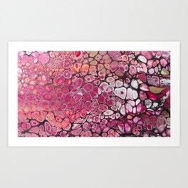 Raspberry Cellular Acrylic Pour Art Print