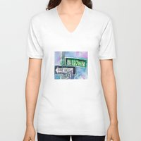 broadway V-neck T-shirts featuring Broadway Sign by Dorrie Rifkin Watercolors