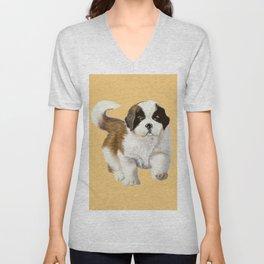 Saint Bernard Puppy Unisex V-Neck