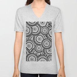 Blooms Black & White 1 Unisex V-Neck