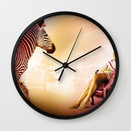Red Zebra Wall Clock