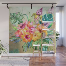 Tropical Hibiscus Garden Wall Mural