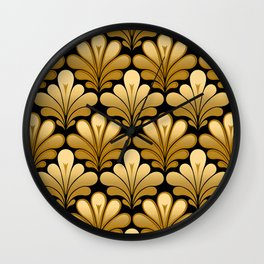 Art Deco Shell Pattern, Gold and Black Wall Clock