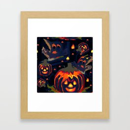 Spooky Night of Ghost and Jackolanterns by Lorloves Design Framed Art Print