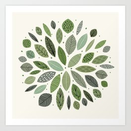Mid-Century Green Leaves Kunstdrucke